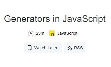Генераторы в JavaScript