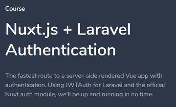 Nuxt.js + Laravel Authentication